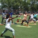 Warrior II pose - Breathe Brownsville Brooklyn Yoga Festival