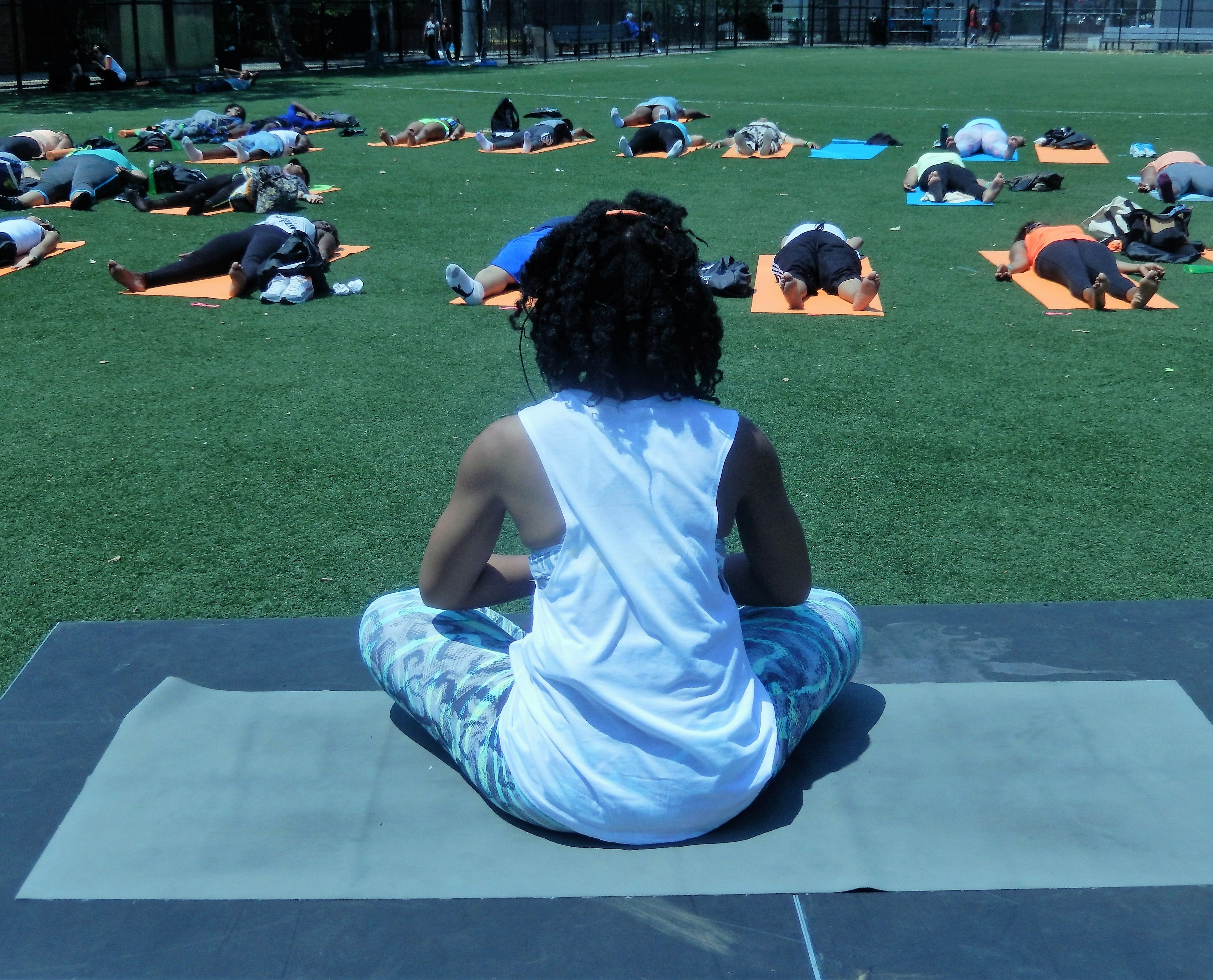 Finally, savasana: final resting pose of sequence - Breathe Brownsville Brooklyn Yoga Festival