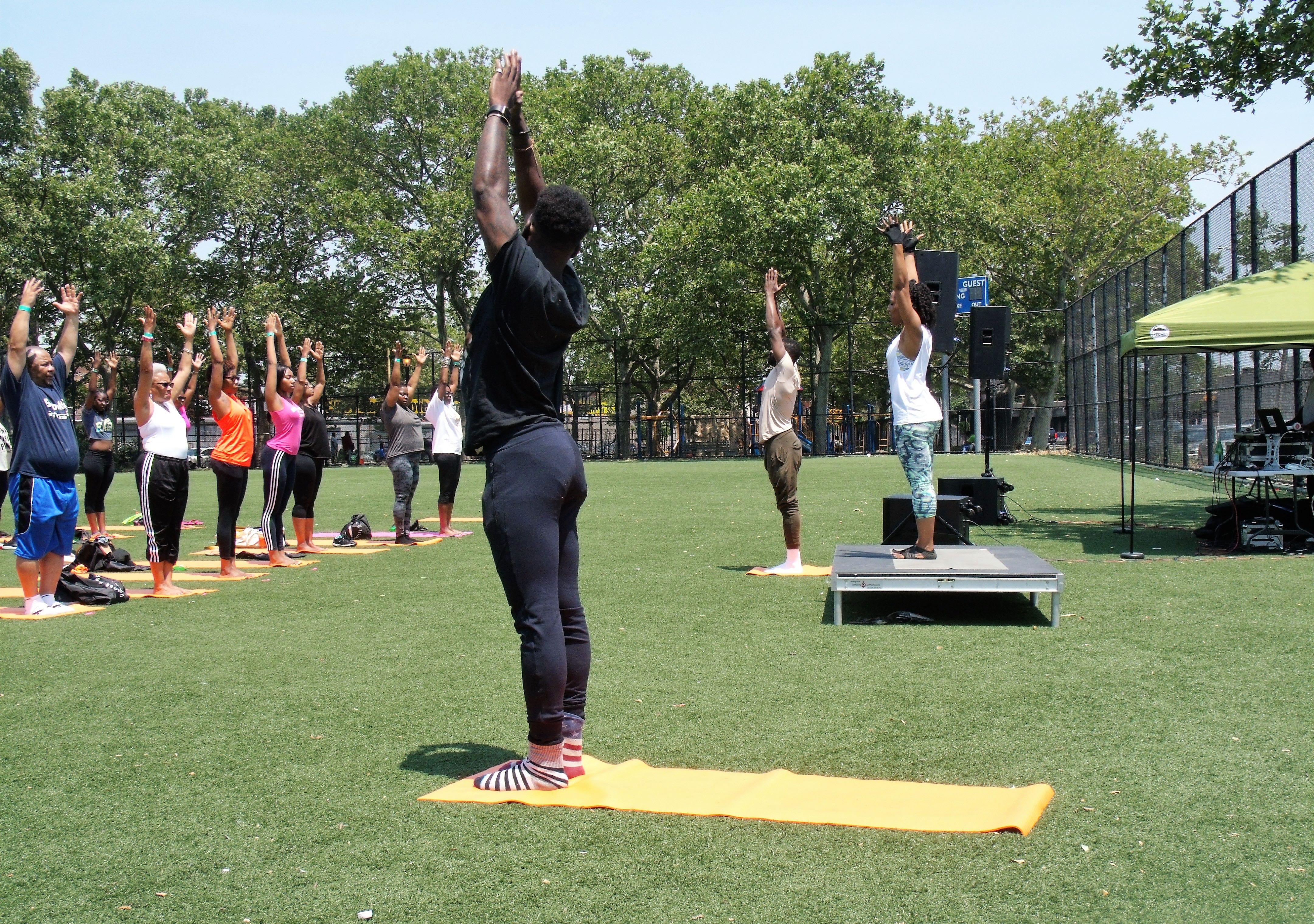 Sun Saluations begin - Breathe Brownsville Brooklyn Yoga Festival