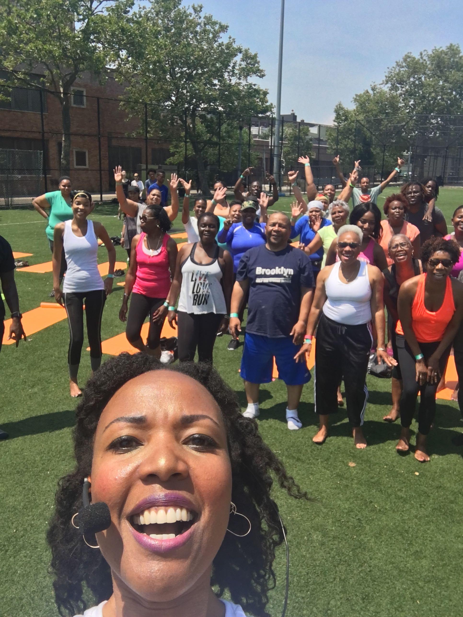 Taking a break for our selfie-video - Breathe Brownsville Brooklyn Yoga Festival